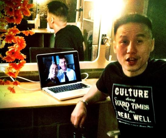 Backstage at Dixon Place in New York with BD Wong, star of Herringbone on May 20, 2012. Photo by Lia Chang