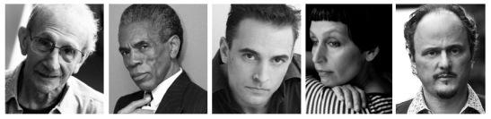 Photos L to R: Philip Levine (photo © Michael Lionstar), André De Shields (photo © Lia Chang), Gene Gillette, Lisa Ramirez (photo © Rose Callahan), Jeffrey Eugenides (photo © Ricardo Barros)
