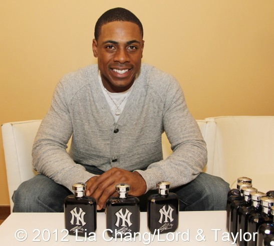 New York Yankees outfielder Curtis Granderson, the brand ambassador for the New York Yankees Fragrance, at Lord & Taylor Fifth Ave in New York on June 4, 2012. Photo by Lia Chang/Lord & Taylor