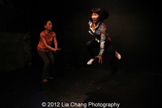 Ching Valdes-Aran and Suzen Murakoshi in rehearsal for Breathe Love Repeat at Under St. Mark's in New York. Photo by Lia Chang