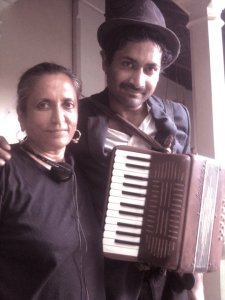Filmmaker Deepa Mehta & Samrat Chakrabarti as Wee Willie Winkie on the set of Midnight's Children, based on  a novel by Salman Rushdie.