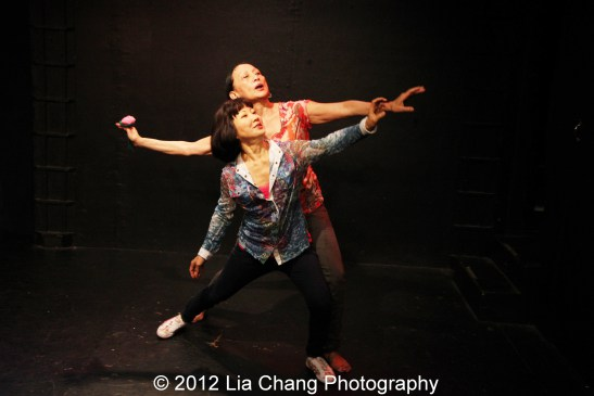 Suzen Murakoshi and Ching Valdes-Aran in rehearsal for Breathe Love Repeat at Under St. Mark's in New York. Photo by Lia Chang