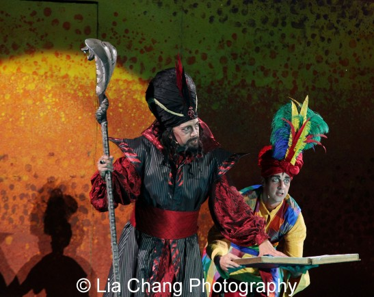 Thom Sesma as Jafar and Curtis Holbrook as Iago in Disney's Aladdin at The Muny in St. Louis. Photo by Lia Chang