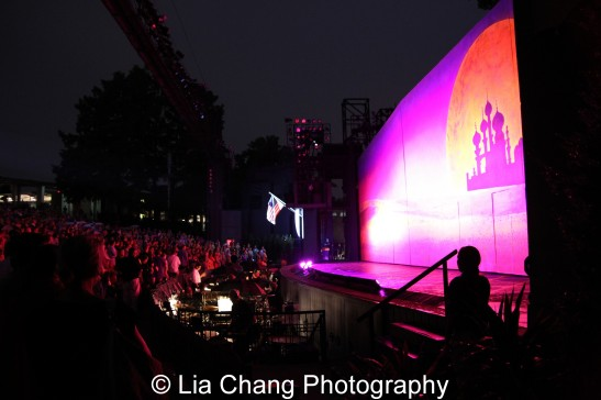 The national anthem is sung before each performance at The Muny. Photo by Lia Chang