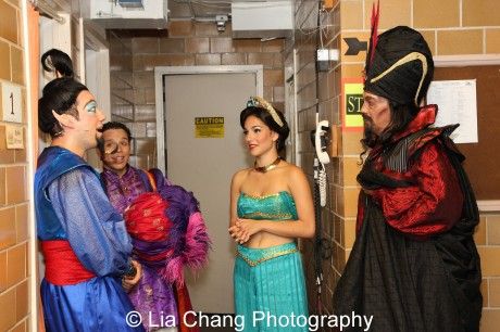 John Tartaglia as the Genie, Robin de Jesus as Aladdin, Samantha Massell as Jasmine and Thom Sesma as Jafar. Photo by Lia Chang
