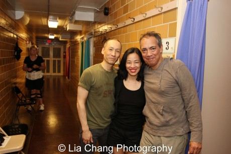 Francis Jue, Lia Chang and Thom Sesma backstage at Disney's Aladdin at The Muny.