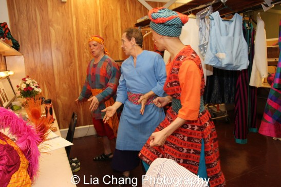 Eddie Korbich, Jason Graae and Francis Jue rehearsing in the dressing room preshow. Photo by Lia Chang