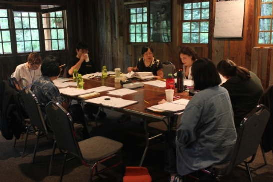 The table read for playwright Daniel Akiyama's A Cage of Fireflies at the 2012 Sundance Institute Theatre Lab at the Sundance Resort in Utah. Photo by Jeanne Sakata