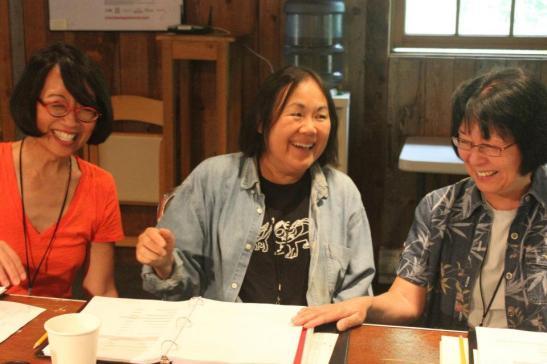 Jeanne Sakata, Emily Kuroda, and Dian Kobayashi in rehearsal for playwright Daniel Akiyama's A Cage of Fireflies at the 2012 Sundance Institute Theatre Lab at the Sundance Resort in Utah.