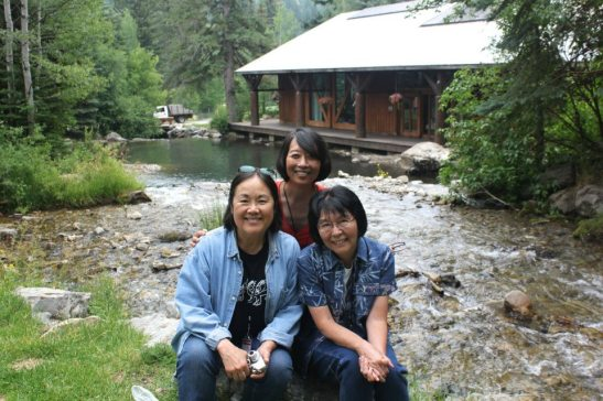 A Cage of Fireflies cast at the babbling brook. L to r: Emily Kuroda, Jeanne Sakata, Dian Kobayashi.