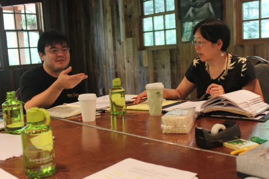 A Cage of Fireflies playwright Daniel Akiyama with director Phyllis S.K. Look at the 2012 Sundance Institute Theatre Lab at the Sundance Resort in Utah. Photo by Jeanne Sakata