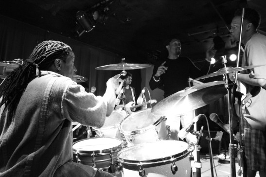 Will Calhoun, Bernard Fowler and Eric Gales at Sullivan Hall in New York on May 18, 2012. Photo by Lia Chang