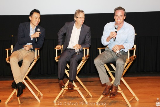 The Screen Actors Guild Foundation's Conversations at NYIT Auditorium on Broadway in New York on August 1,2012, with Supercapitalist's stars Derek Ting, Linus Roache and Michael Park. Photo by Lia Chang
