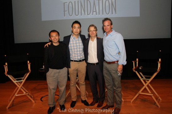 Nick Sakai, Derek Ting, Linus Roache and Michael Park. Photo by Lia Chang