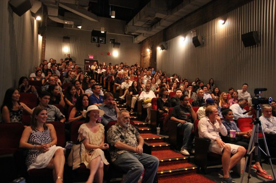 The audience at the New York theatrical premiere of Supercapitalist at Village East Cinema on August 10, 2012. Photo by Lia Chang