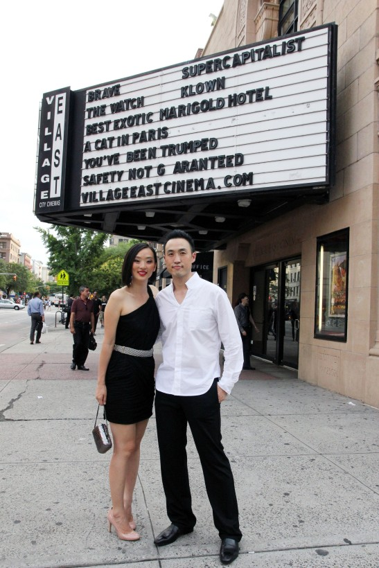 Joyce Yung and Derek Ting at Village East Cinema for the New York theatrical premiere screening of Supercapitalist on August 10, 2012. Photo by Lia Chang