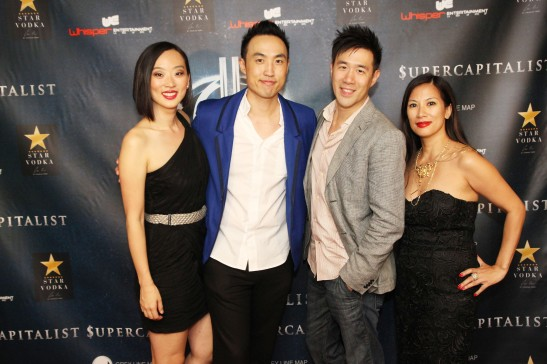 Supercapitalist's producing team Joyce Yung, Derek Ting (writer and star), David Hou and Emeline Rodelas at Village East Cinema for the New York theatrical premiere of Supercapitalist on August 10, 2012. Photo by Lia Chang