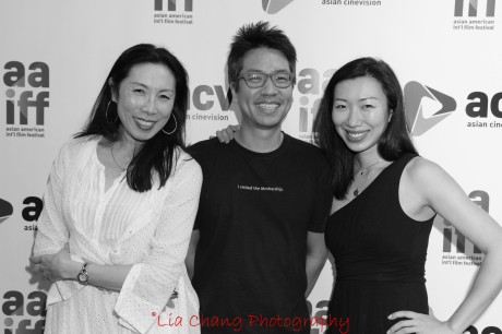 J.P. Chan, writer/director of the recently wrapped A Picture of You, is flanked by his castmembers Jodi Long, who can currently be seen on Sullivan and Son, and Jo Mei, at the 35th Asian American International Film Festival, at the Clearview Chelsea Cinemas in New York on August 4, 2012. Photo by Lia Chang