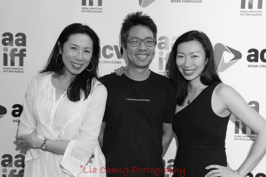 JP Chan, writer/director of the recently wrapped A Picture of You, is flanked by his castmembers Jodi Long, who can currently be seen on Sullivan and Son, and Jo Mei, at the 35th Asian American International Film Festival, at the Clearview Chelsea Cinemas in New York on August 4, 2012. Photo by Lia Chang