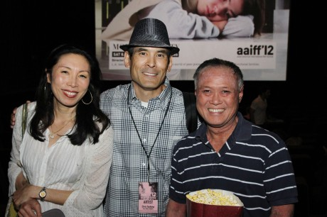 Jodi Long, Chris Tashima and Les Mau before the screening of Lily Mariye's Model Minority at Clearview Chelsea Cinemas in New York on August 4, 2012, a selection of the 35th Asian American International Film Festival. Photo by Lia Chang