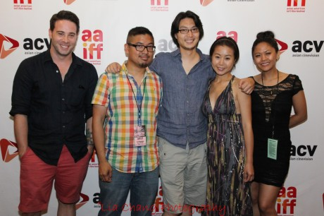 Kerry McCrohan, Richard Wong, H. P. Mendoza and Theresa Navarro after the screening of Yes, We're Open at the 35th Asian American International Film Festival, at the Clearview Chelsea Cinemas in New York on August 4, 2012. Photo by Lia Chang
