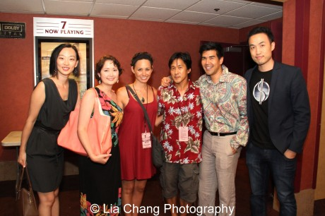 Supercapitalist producer Joyce Yung, Jane Ann Valentine, Knots writer and star Kimberly-Rose Wolter, Knots director Michael Kang, Pun Bandhu, Derek Ting, writer, producer and star of Supercapitalist at the 35th Asian American International Film Festival screening of Knots, at the Clearview Chelsea Cinemas in New York on August 5, 2012. Photo by Lia Chang