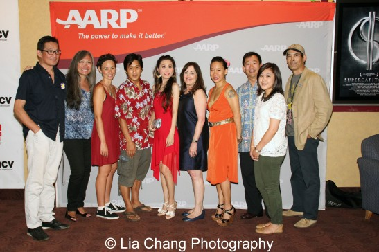 John Woo, Executive Director of Asian Cinevision, June Jee, Knots writer and star Kimberly-Rose Wolter, director Michael Kang and actor Yoko Honjo; Beth Rosenthal Finkel, MSW Senior Manager, AARP, Kelly Zen-Yie Tsai, David Kim, Vice President for Multicultural Markets and Engagement, AARP, and Model Minority actor Chris Tashima, at the 35th Asian American International Film Festival closing night screening of Knots at the Clearview Chelsea Cinemas in New York on August 5, 2012. Photo by Lia Chang