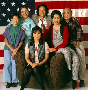 (L-R) The cast of All American Girl featured J.B. Quon, Amy Hill Margaret Cho,  B.D. Wong, Jodi Long and Clyde Kusatsu. Photo courtesy of ABC TV