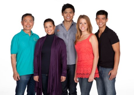 (from left) George Takei will star as Sam Kimura and Ojii-san, Lea Salonga as Kei Kimura and Hana Suzuki, Paolo Montalban as Mike Masaoka, Allie Trimm as Hannah Campbell and Telly Leung as Sammy Kimura in the World Premiere of Allegiance - A New American Musical, with music and lyrics by Jay Kuo and book by Marc Acito, Kuo and Lorenzo Thione, directed by Stafford Arima, Sept. 7 - Oct. 21, 2012 at The Old Globe. Photo by Henry DiRocco.
