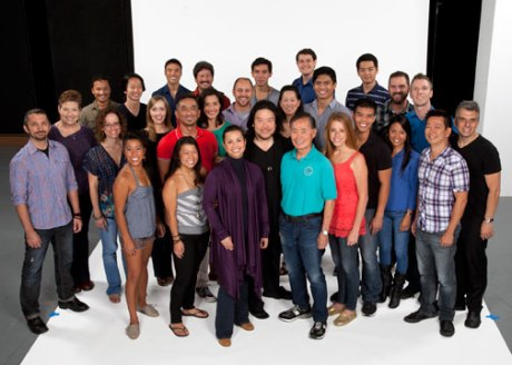The cast and creative team of Allegiance: (back row, from left) actors Jon Jon Briones, Michael K. Lee, Marc de la Cruz, Scott Watanabe, Conrad Ricamora, Brandon Joel Maier and Kurt Norby and co-book writer Lorenzo Thione; (middle row) choreographer Andrew Palmero, music director Laura Bergquist, music supervisor, arranger and orchestrator Lynne Shankel, actors Jill Townsend, Paul Nakauchi, Ann Sanders, Geno Carr, MaryAnn Hu, Paolo Montalban, Telly Leung and Jennifer Hubilla, composer, lyricist and co-book writer Jay Kuo and co-book writer Marc Acito; (front row) actors Kay Trinidad, Katie Boren and Lea Salonga, director Stafford Arima and actors George Takei and Allie Trimm. The World Premiere of Allegiance - A New American Musical, with music and lyrics by Jay Kuo and book by Marc Acito, Kuo and Lorenzo Thione, directed by Stafford Arima, will run Sept. 7 - Oct. 21, 2012 at The Old Globe. Photo by Henry DiRocco.
