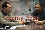 Director Konrad Aderer interviewing Farouk Abdel-Muhti in Hudson County Jail, Kearny, NJ (video still from Enemy Alien)