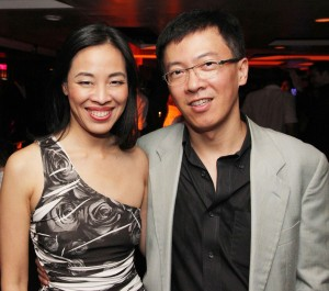 Lia Chang and Supercapitalist producer John Hsu, who flew in from Hong Kong to attend the premiere screening, at Crimson in New York for the afterparty on August 10, 2012.
