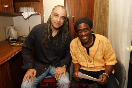 Mino Cinelu and Will Calhoun in the dressing room at The Blue Note in New York on August 13, 2012. Photo by Lia Chang