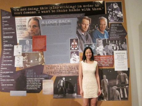 Lia Chang in front of the Sam Shepard history wall in front of The Irene Diamond Stage at The Pershing Square Signature Center in New York after the alumni performance of Sam Shepard's Heartless. Photo by Jane Ann Valentine