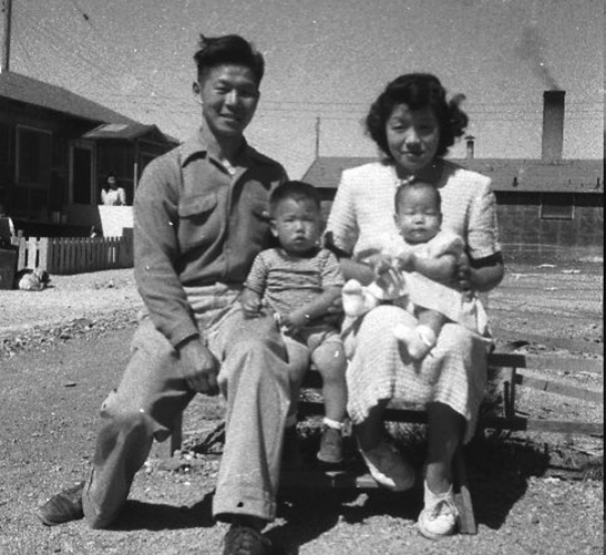 Director's grandparents & mother in Topaz camp (photo by Hiroshi Takayama, director's grandfather)