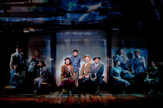 (center, from left) Lea Salonga as Kei Kimura, Telly Leung as Sammy Kimura, George Takei as Ojii-san and Paul Nakauchi as Tatsuo Kimura with the cast of the World Premiere of Allegiance - A New American Musical at The Old Globe. Photo by Henry DiRocco.
