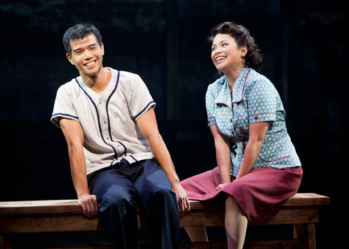 Telly Leung as Sammy Kimura and Lea Salonga as Kei Kimura in Allegiance - A New American Musical. Photo by Henry DiRocco.
