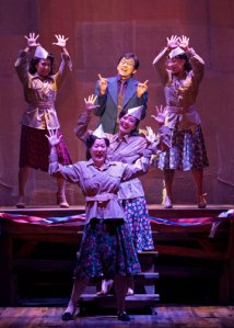 Michael K. Lee as Frankie Suzuki (center) with (from left) Kay Trinidad, MaryAnn Hu, Ann Sanders and Katie Boren in the World Premiere of Allegiance - A New American Musical at The Old Globe. Photo by Henry DiRocco.