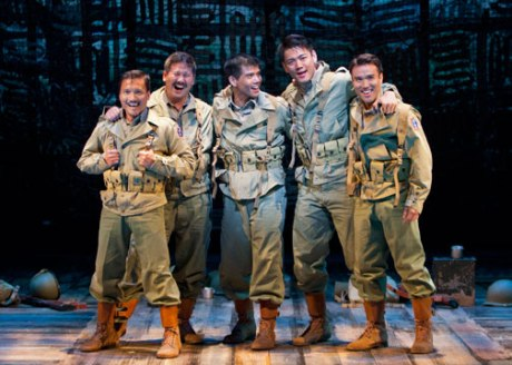 Telly Leung as Sammy Kimura (center) with (from left) Jon Jon Briones, Scott Watanabe, Karl Josef Co and Marc de la Cruz in the World Premiere of Allegiance - A New American Musical at The Old Globe. Photo by Henry DiRocco.