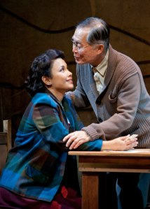 Lea Salonga as Kei Kimura and George Takei as Ojii-san in the World Premiere of Allegiance - A New American Musical. Photo by Henry DiRocco.
