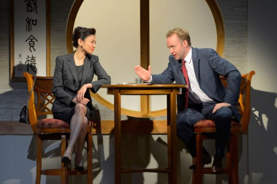 (l to r) Michelle Krusiec and Alex Moggridge star in Berkeley Rep's production of Chinglish, a new comedy from David Henry Hwang. Photo courtesy of kevinberne.com