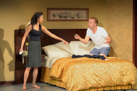 (l to r) Michelle Krusiec and Alex Moggridge star in Berkeley Rep's production of Chinglish, a new comedy from David Henry Hwang.Photo courtesy of kevinberne.com