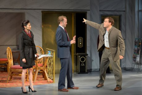 (l to r) Michelle Krusiec, Alex Moggridge and Brian Nishii star in Berkeley Rep's production of Chinglish, a new comedy from David Henry Hwang.Photo courtesy of kevinberne.com