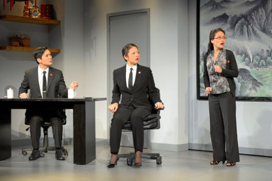 (l to r) Austin Ku, Celeste Den and Vivian Chiu star in Berkeley Rep's production of Chinglish, a new comedy from David Henry Hwang. Photo courtesy of kevinberne.com