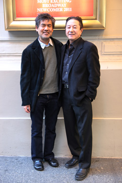 Playwrights David Henry Hwang and Rick Shiomi in front of the Longacre Theatre in New York after a performance of Hwang's latest Broadway comedy Chinglish on January 28, 2012. Photo by Lia Chang