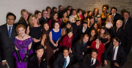 Mu Performing Arts Artistic Director Rick Shiomi shares his 2012 Ivey Award for Lifetime Achievement with his Mu Performing Arts family backstage at the State Theatre in Minneapolis, MN. on September 24, 2012. Photo by Kurt Moses