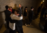 Mu Performing Arts Artistic Director Rick Shiomi, the 2012 Ivey Award recipient for Lifetime Achievement, gets a big congratulatory hug from his Don Eitel, his managing director of Mu, backstage at the State Theatre in Minneapolis, MN. on September 24, 2012. Photo by Kurt Moses