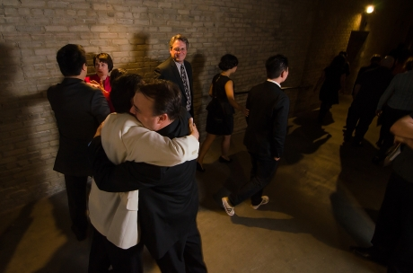 Mu Performing Arts Artistic Director Rick Shiomi, the 2012 Ivey Award recipient for Lifetime Achievement, gets a congratulatory hug from Don Eitel, his managing director of Mu, backstage at the State Theatre in Minneapolis, MN. on September 24, 2012. Photo by Kurt Moses