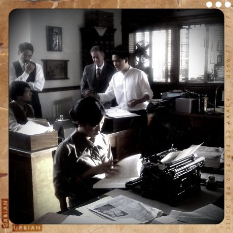 Director Jeffrey Gee Chin with his cast on the set of Lil Tokyo Reporter. Photo by Reece Carter
