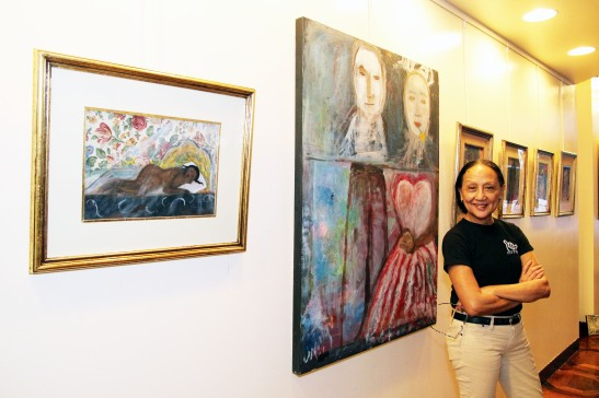 Ching Valdes-Aran at the Phillippine Center Gallery in New York on October 20, 2012.  Photo by Lia Chang